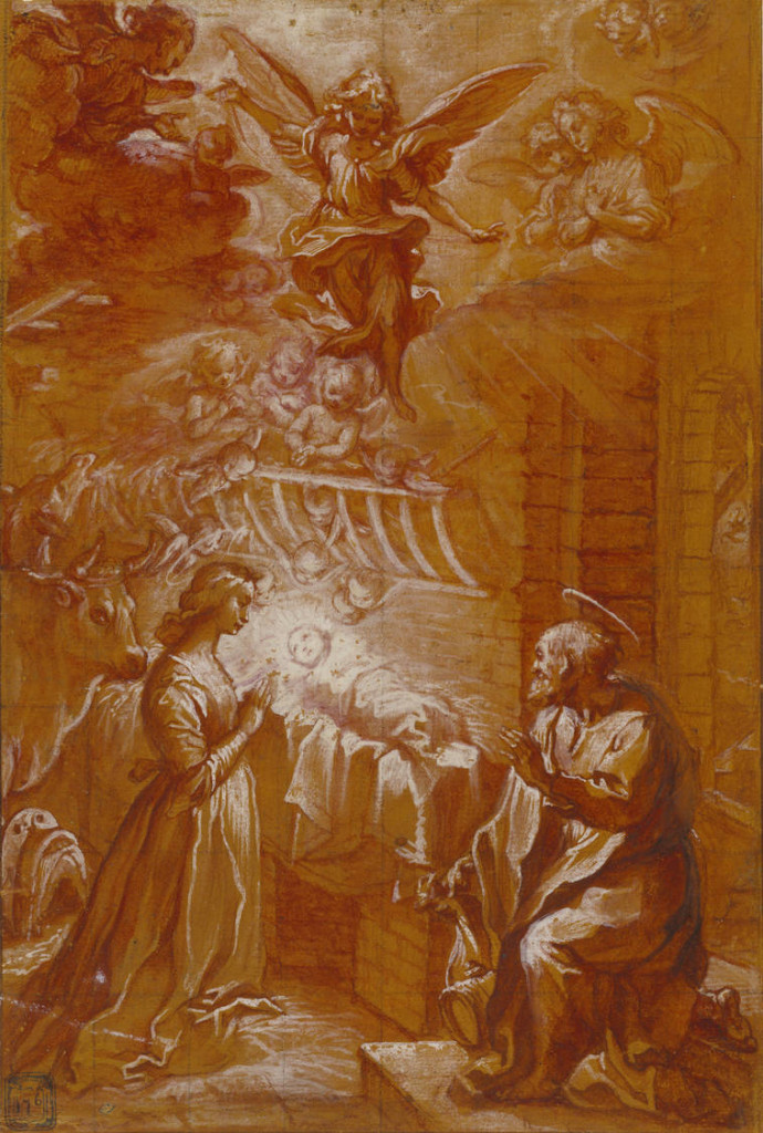 Francesco Vanni (Italian, 1563 - 1610). The Nativity, about 1600, Red wash over black chalk, heightened with white gouache; on an ocher prepared ground, squared in black chalk 28.9 x 19.5 cm (11 3/8 x 7 11/16 in.) The J. Paul Getty Museum, Los Angeles